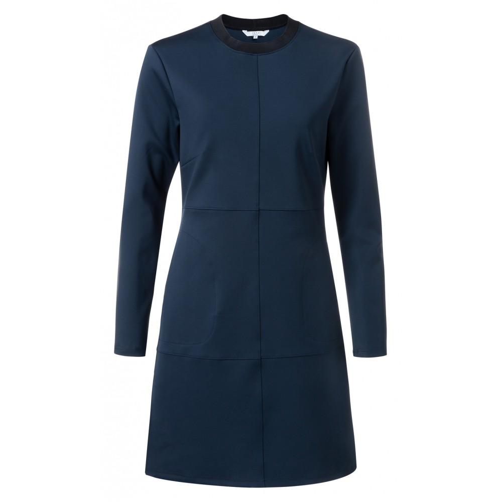 Donkerblauwe dames slim-fit jurk met panelen YAYA - 1809175-022, 93922