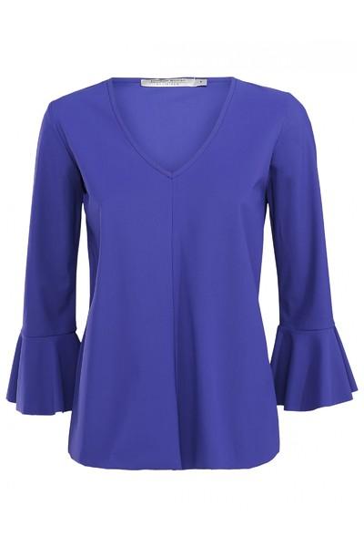 Paarse dames blouse met trompetmouw Summum - 2S2177-10748