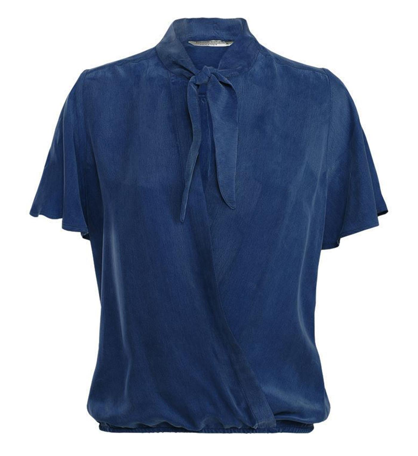 Blauwe dames top met strik lint Summum - 2S2325-10936