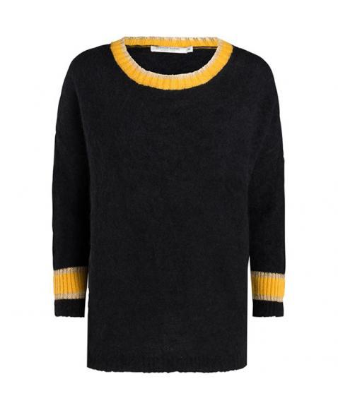 Zwarte dames trui met gele details Summum - 7S5345-7672