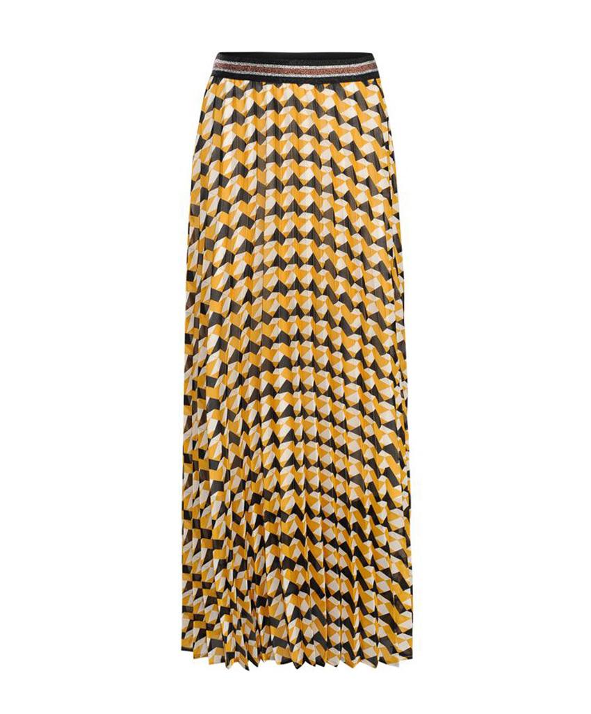 Zwart/geel/wit geprinte dames rok Summum - 6S1105-11002