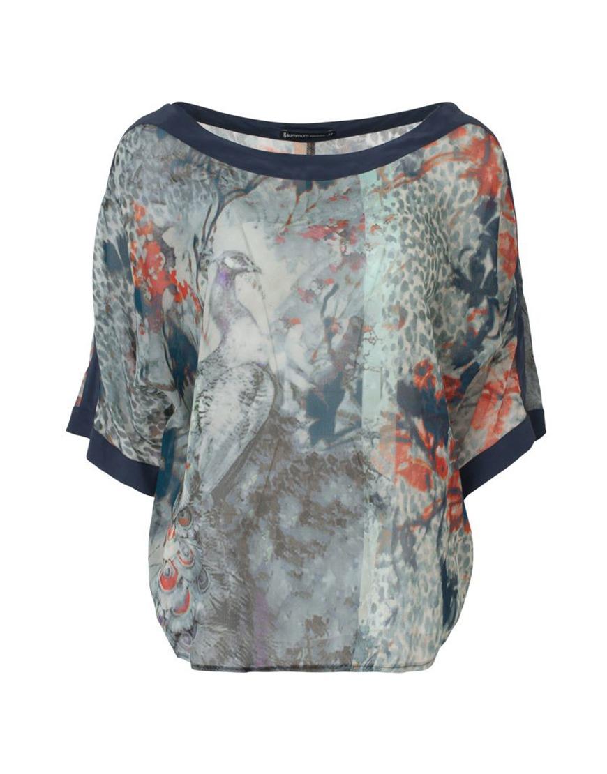 Blauw geprinte dames blouse Summum - 2s1924