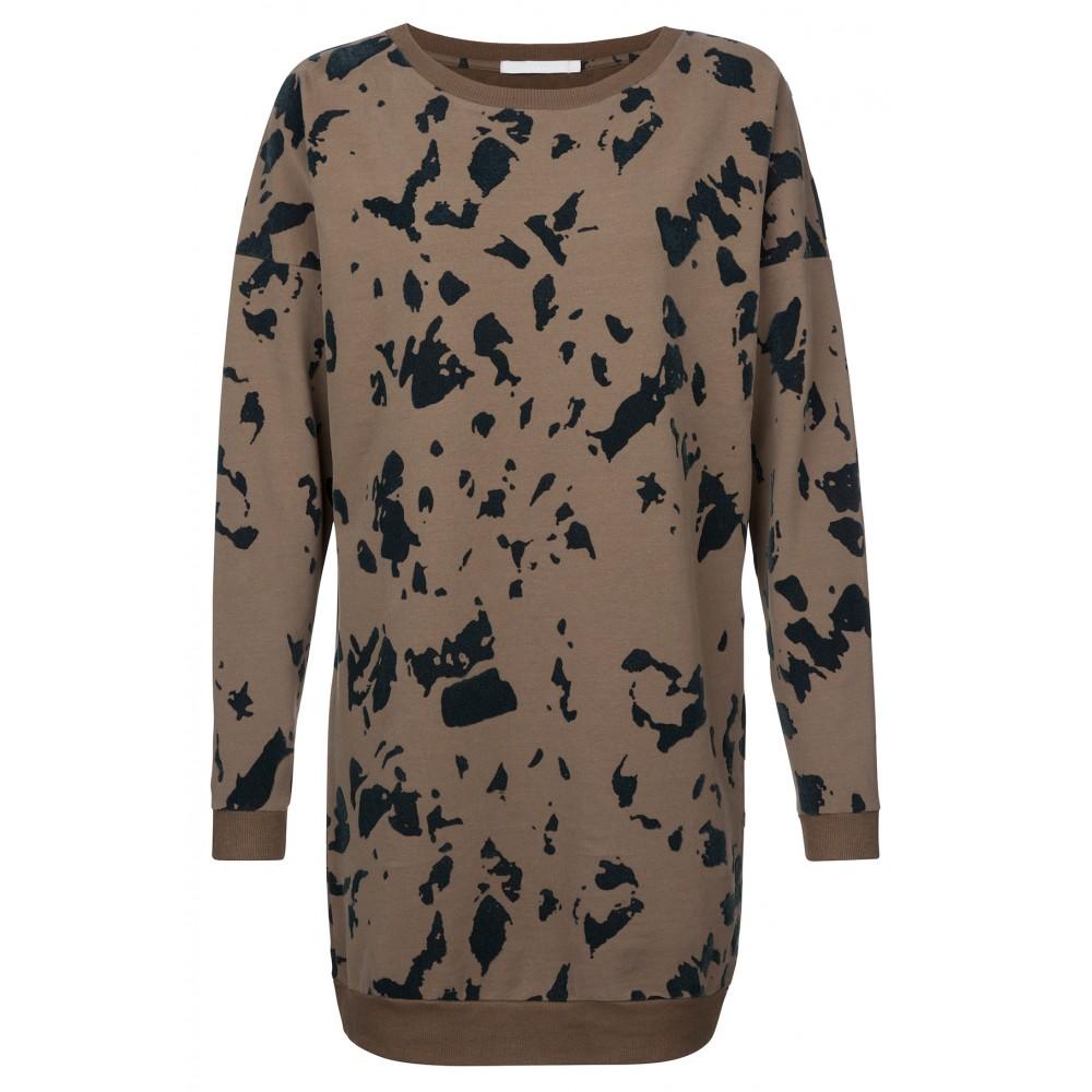 Groen geprinte dames sweater jurk Yaya - 081678