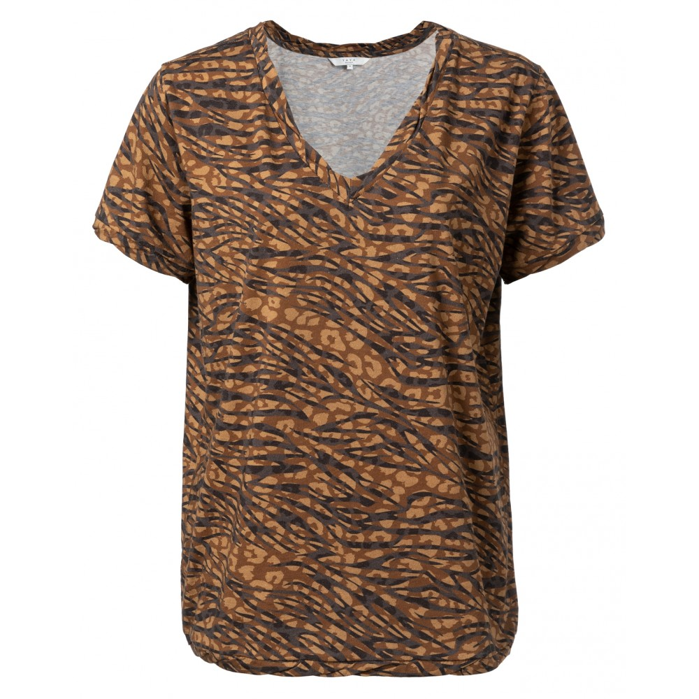 Bruin/zwart geprint dames T-shirt met V-hals YAYA - 1919107-920
