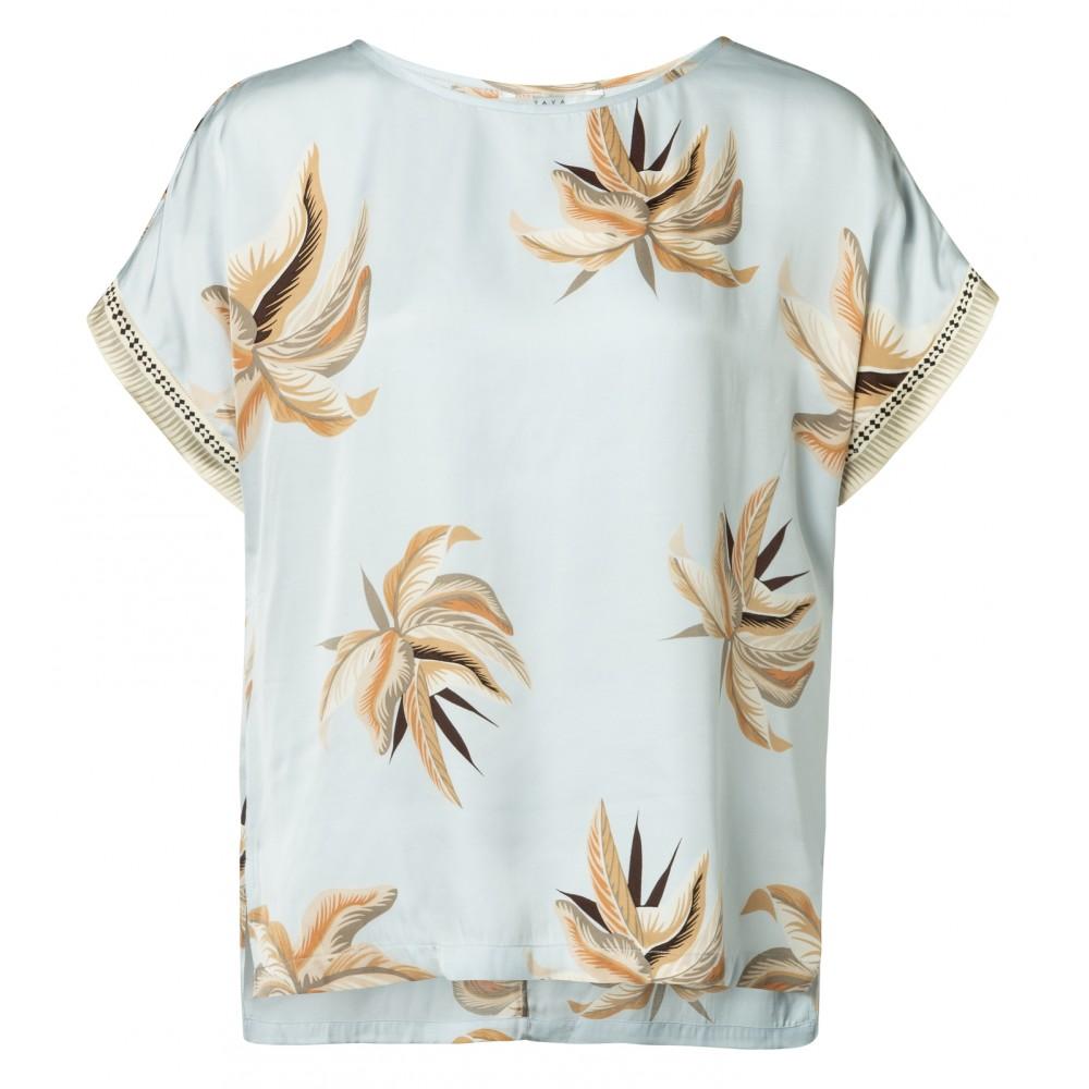 Lichtblauw dames shirt met print YAYA - 1901145-915