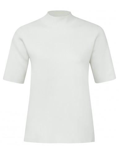 Witte dames top met smalle rolkraag en korte mouwen YAYA - 1000125-912