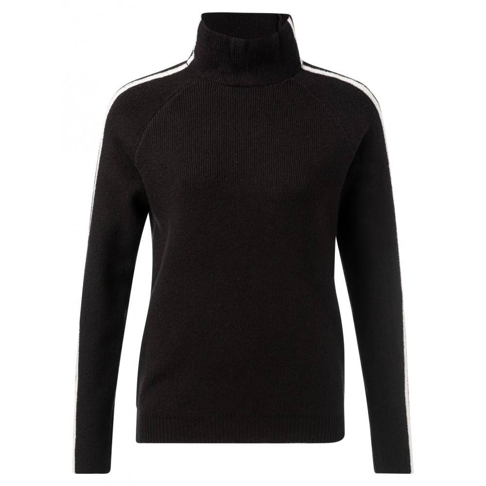 Zwarte dames trui met contrasterende streep Yaya - 1000221-925