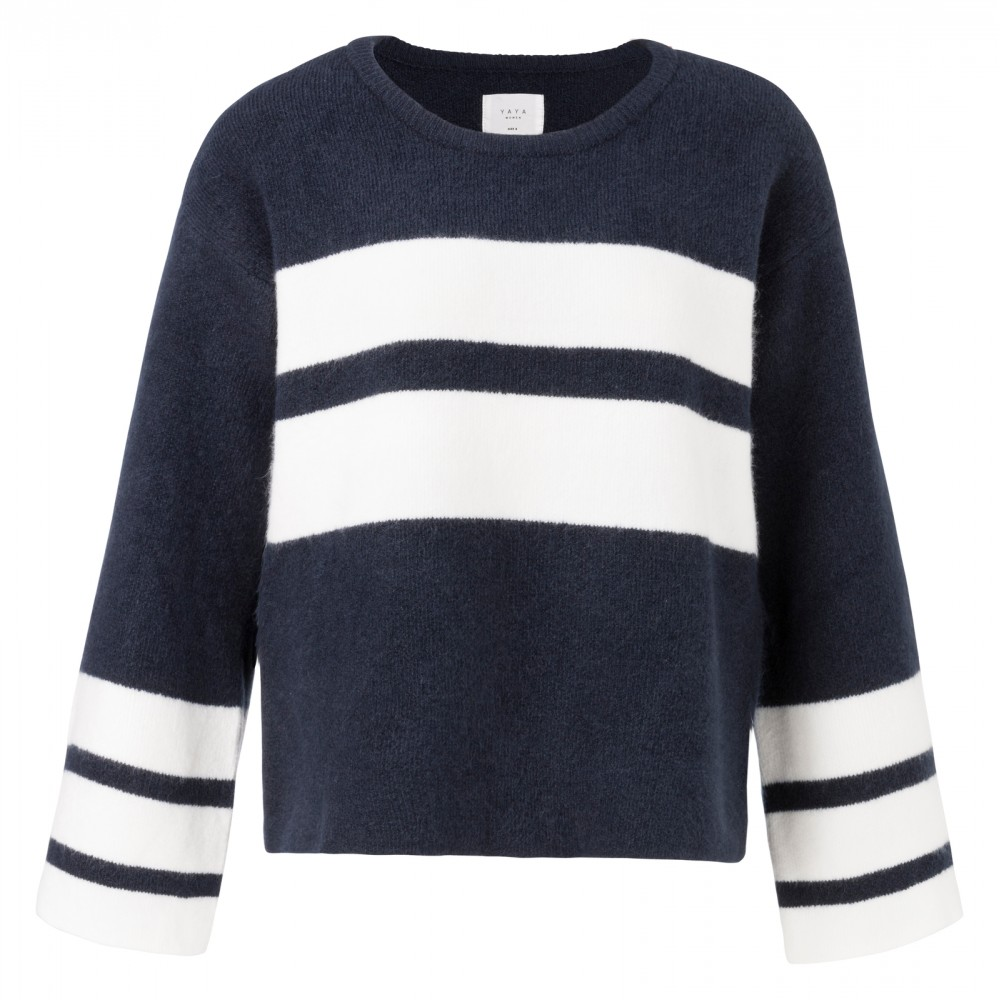 Donkerblauwe dames sweater YAYA met witte strepen - 100055-824