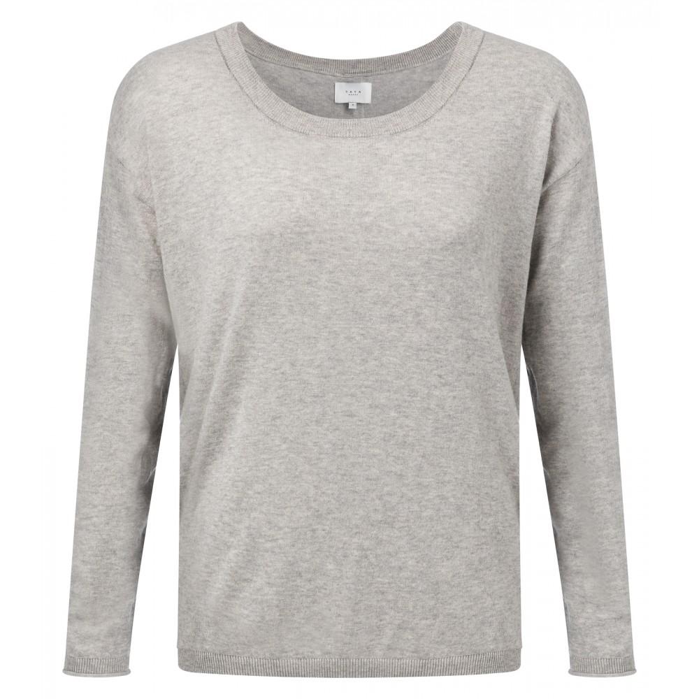 Grijze dames trui met knopenrits op de achterzijde YAYA 99859