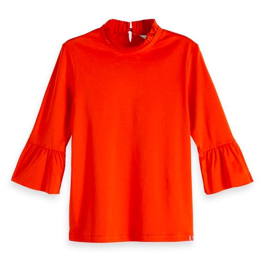 Oranje gestreepte dames top met volant mouwen Maison Scotch - 147764