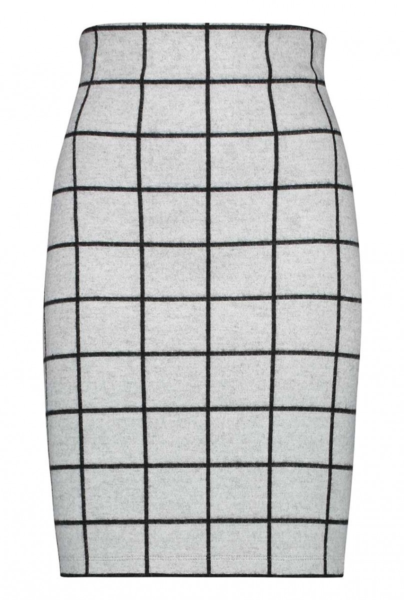 Grijs/zwart dames koker rok met ruit Penn & Ink - W19N585