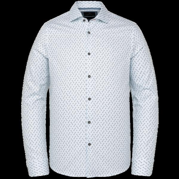 witte heren blouse met print - vanguard - long sleeve shirt structure fabric - 7003