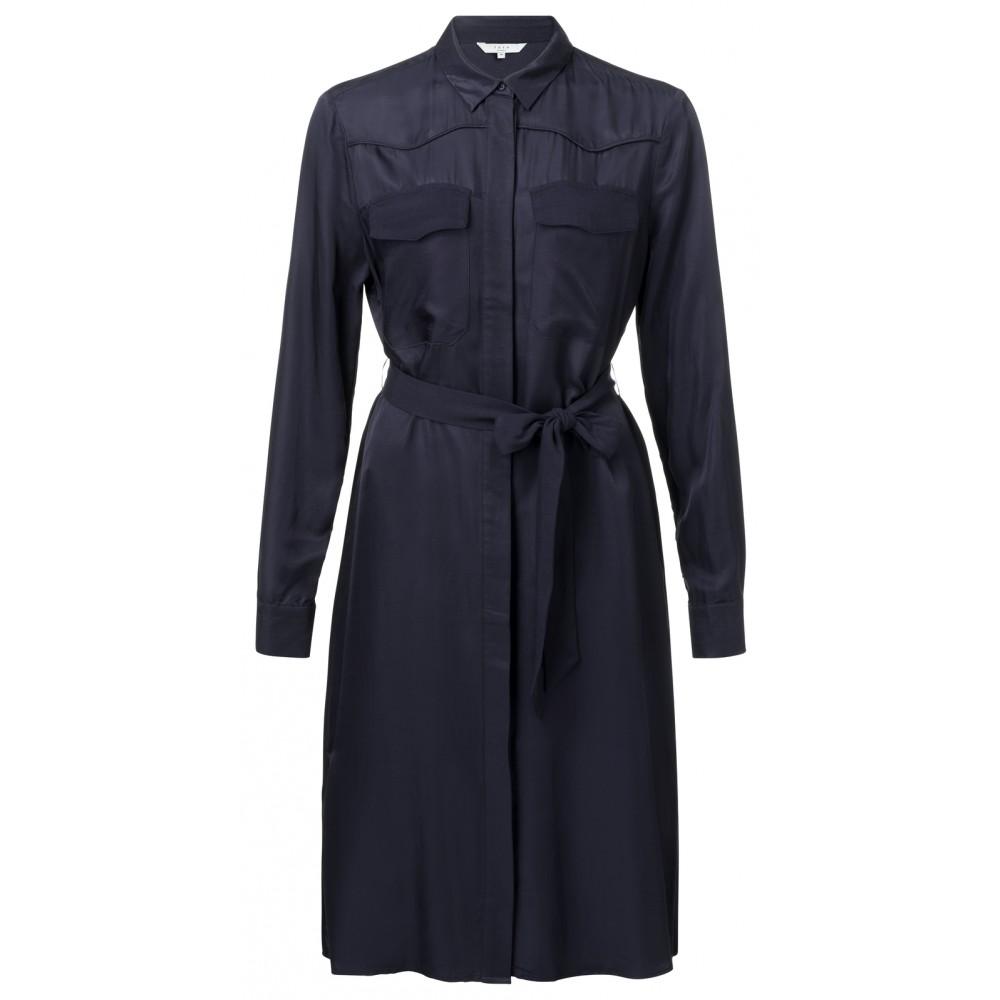 Donkerblauw dames overhemdjurk met stripceintuur YAYA - 180169-912