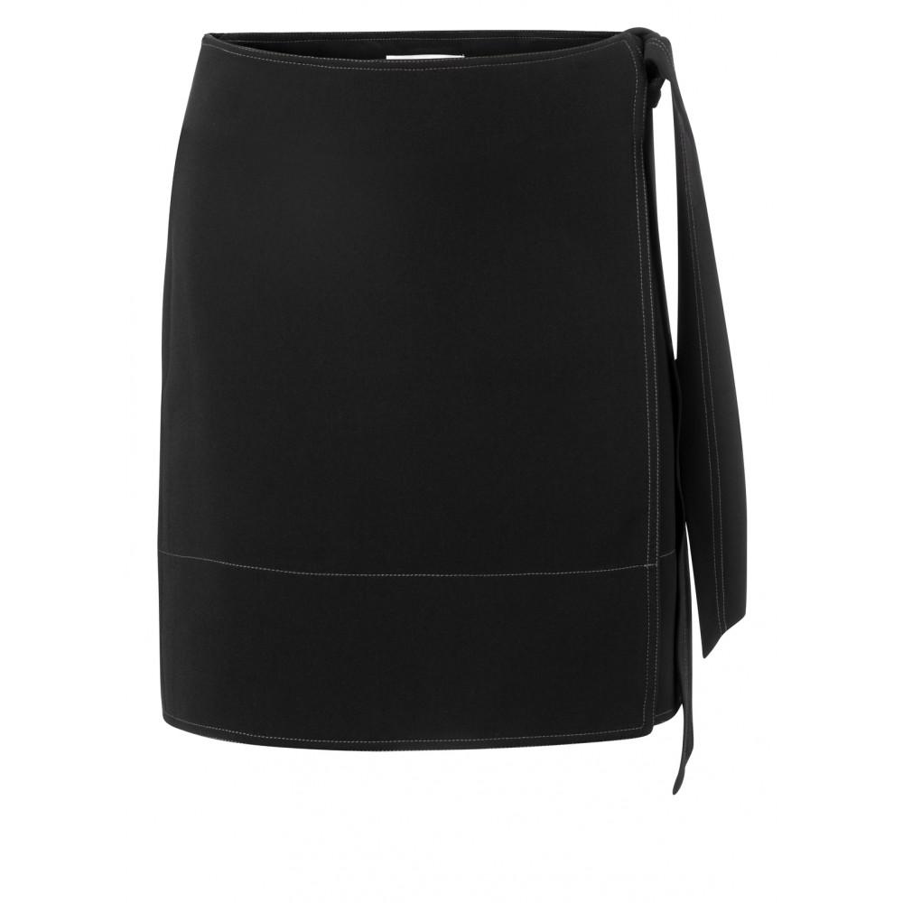Zwarte wikkelrok met contrasterende stiksels YAYA - 140154-921 - 00001