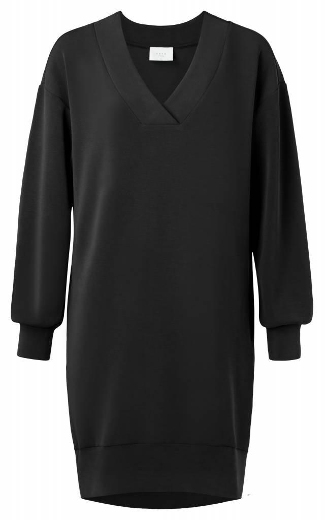 Zwarte dames jurk met grote V-hals YAYA - 180902-823
