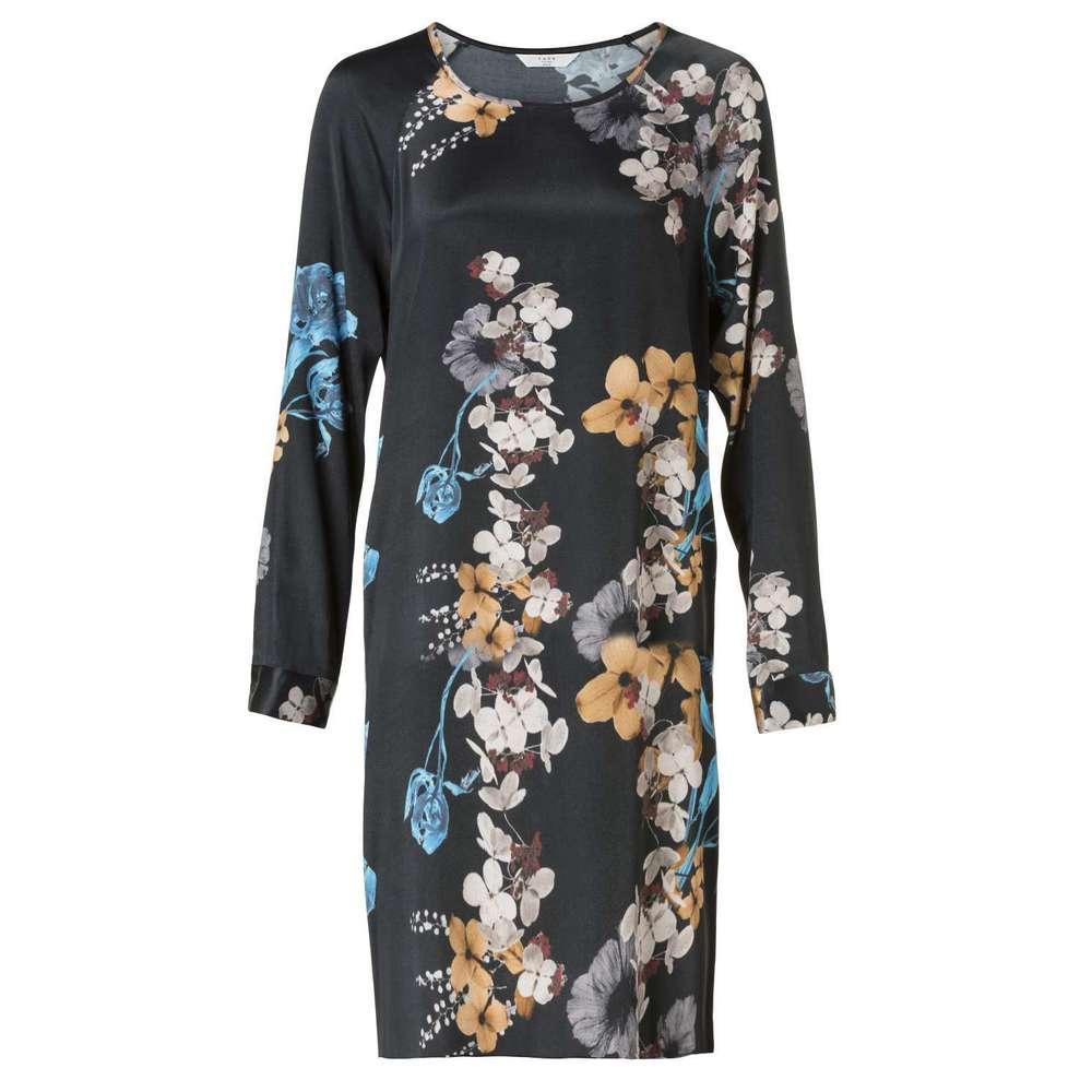 Zwart geprinte dames jurk met bloemen YAYA - 180124-824