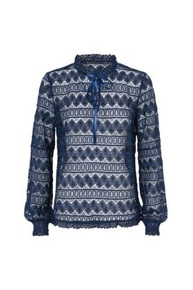kanten blouse blauw